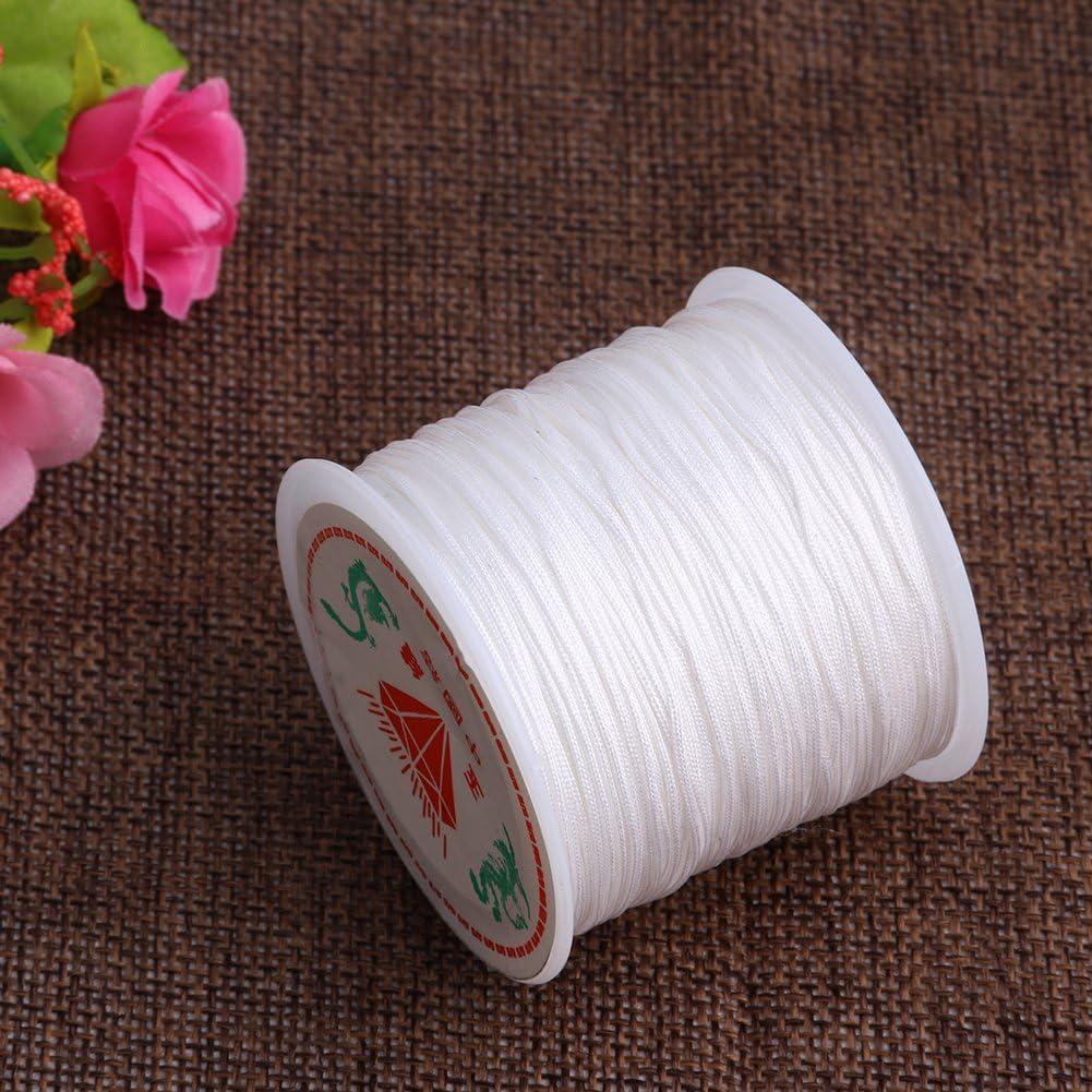 Mimgo Store 45M Chinese Knot Cord Handcraft Braid Rattail Satin Nylon Trim Cord Chinese Knot 0.8mm x 49 yards Fruit Green