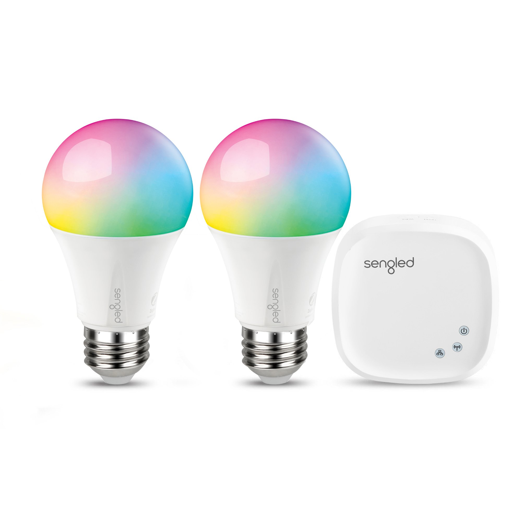 Sengled Element Color Plus Smart LED, A19 Dimmable Color Changing Light Bulb Starter Kit (2 bulbs + hub), RGBW 16 Million Colors & Tunable White 2000-6500K, Works with Alexa / Google Assistant / IFTTT