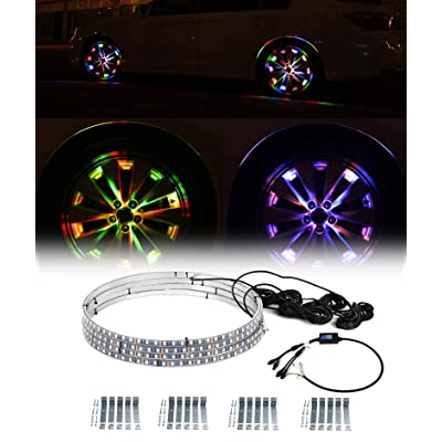 """Exerock 4pc 15.5"""" 12V Waterproof LED Illuminated Wheel Ring Light Kit w/Turn Signal Function: Automotive"""
