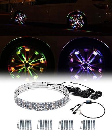 Exerock 4pc 15.5'' Adjustable Wheel Light 12V Waterproof LED Illuminated Wheel Ring Light Kit Turn Signal Function Application Controller