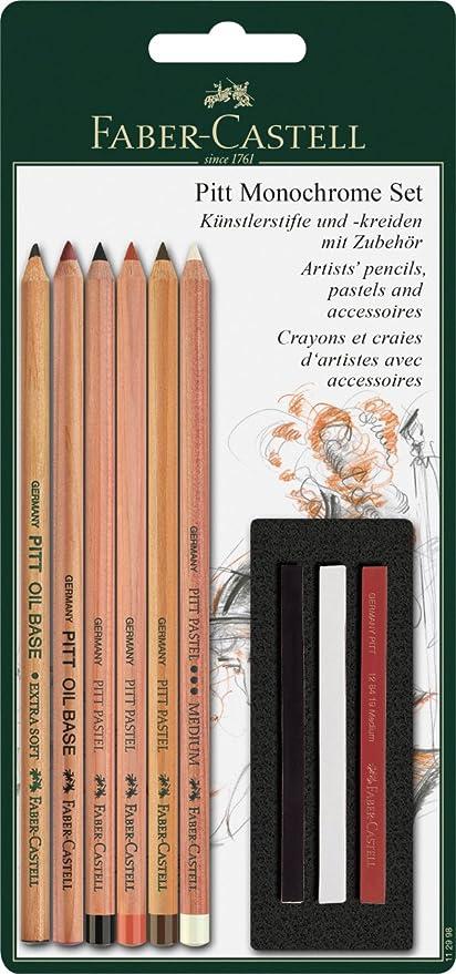 Faber-Castell 112998 - Set Pitt Monochrome de 6 lápices y 3 tizas: Amazon.es: Oficina y papelería