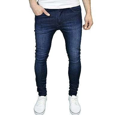 9981a8a3093eee Enzo Mens Designer Branded Super Stretch Skinny Fit Jeans Dark Stonewash  28W x 30L