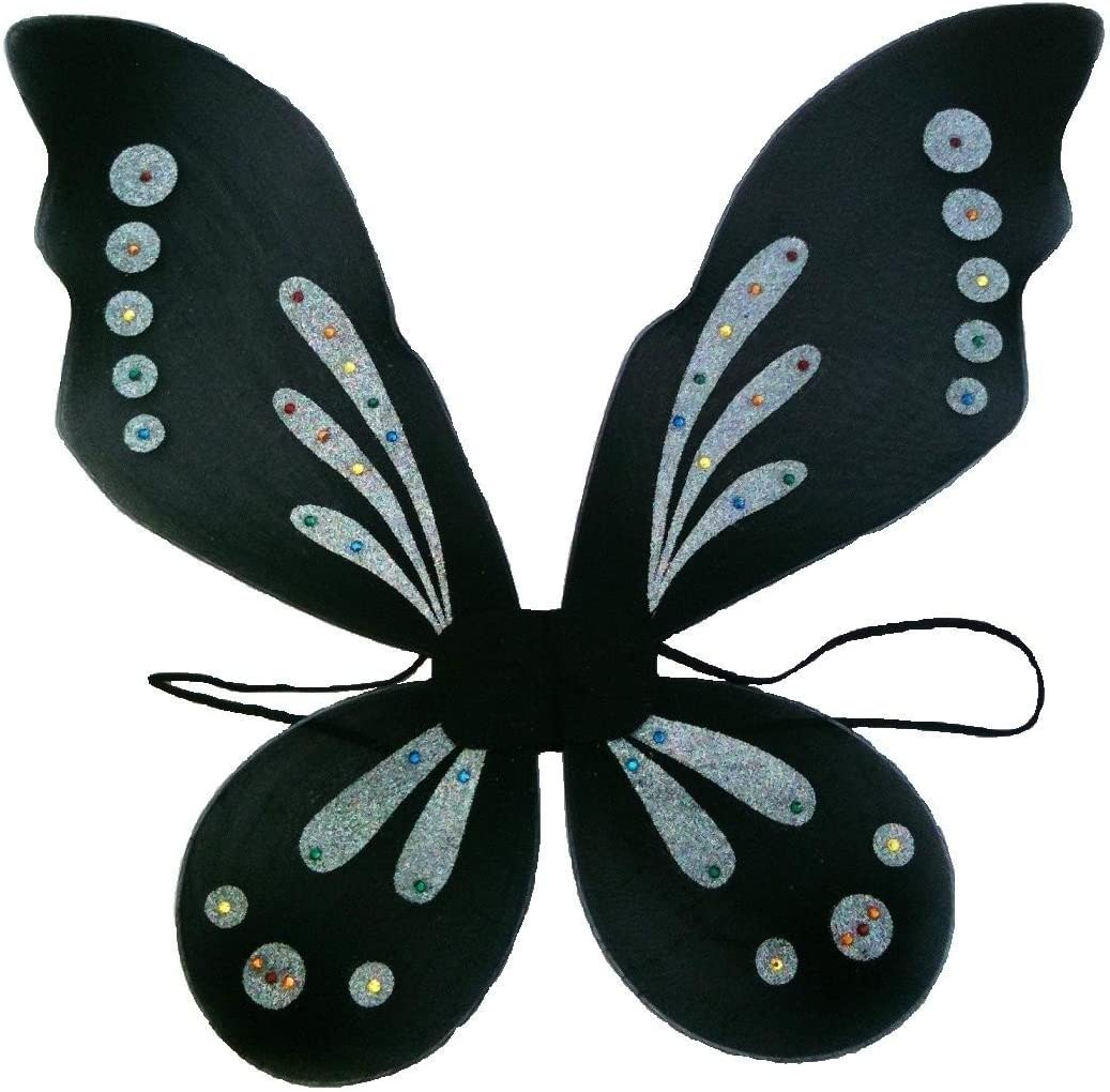 Black /& Silver Pixie Fairy Costume Wings Coxlures PIXW23