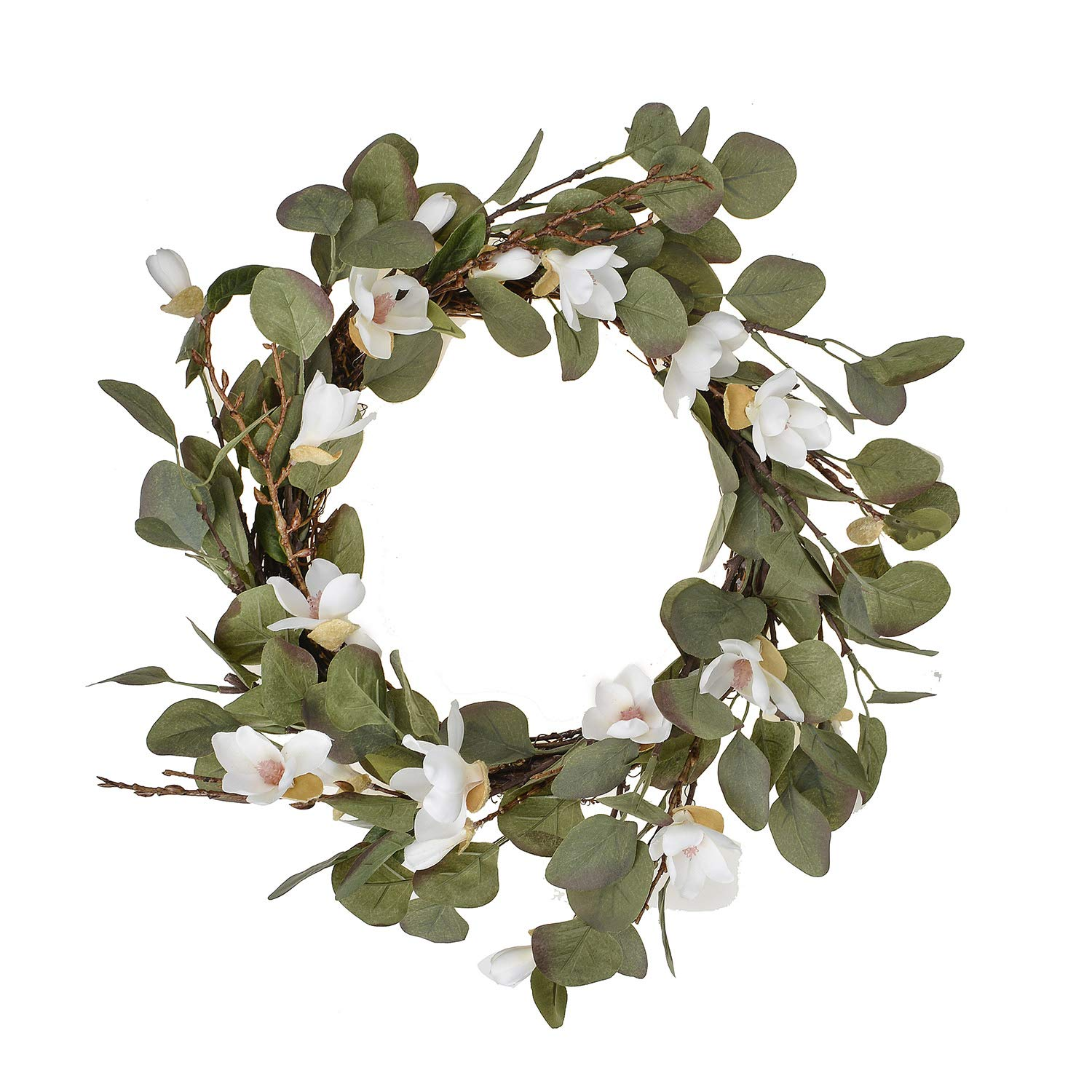 FAVOWREATH Fall Series FAVO-W122 Handmade 15 inch White Lily,Hello Letter,Laurel/Eucalyptus Leaf,Grapevine Wreath for Festival Front Door/Wall/Fireplace Every Day Nearly Natural Home Hanger Decor by FAVOWREATH