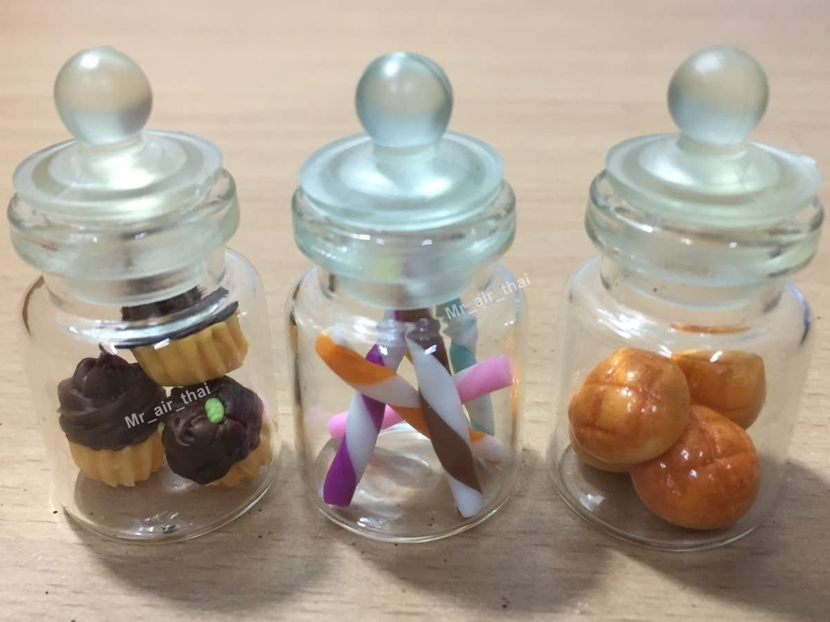 3pc Miniature Food Cookie Chocolate Cake Dollhouse Donut Candy Bread in Clear Glass Mini Bottle fruit #MF063
