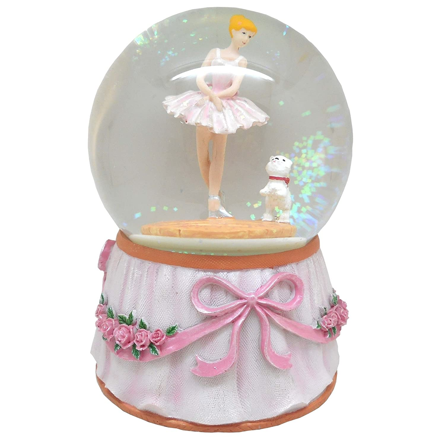 Lightahead Musical Ballerina with Puppy in a 100MM Polyresin Water Snow Globe Ball with Inside Figurine Rotating playing music