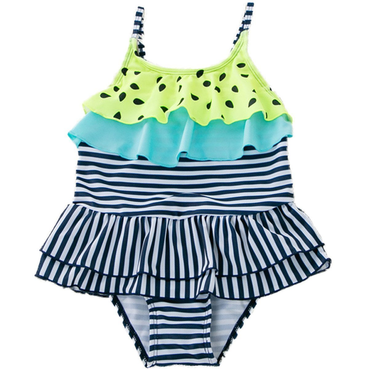 Maylife Baby Kids Girls One Pieces Sleeveless Swimwear Stripe Ruffle Skirt Shoulder Swimsuit