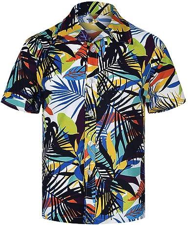 CAOQAO Camisa Hawaiana Hombre Estampado Floral Slim Fit Holgado de Manga Corta S - XXXXXL: Amazon.es: Ropa y accesorios