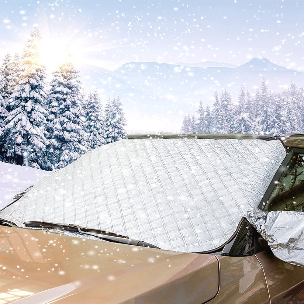 Santu Car Windshield Snow Cover & Sun Shade Protector with Cotton Thicker Snow Protection Cover Fits Most of Vehicles