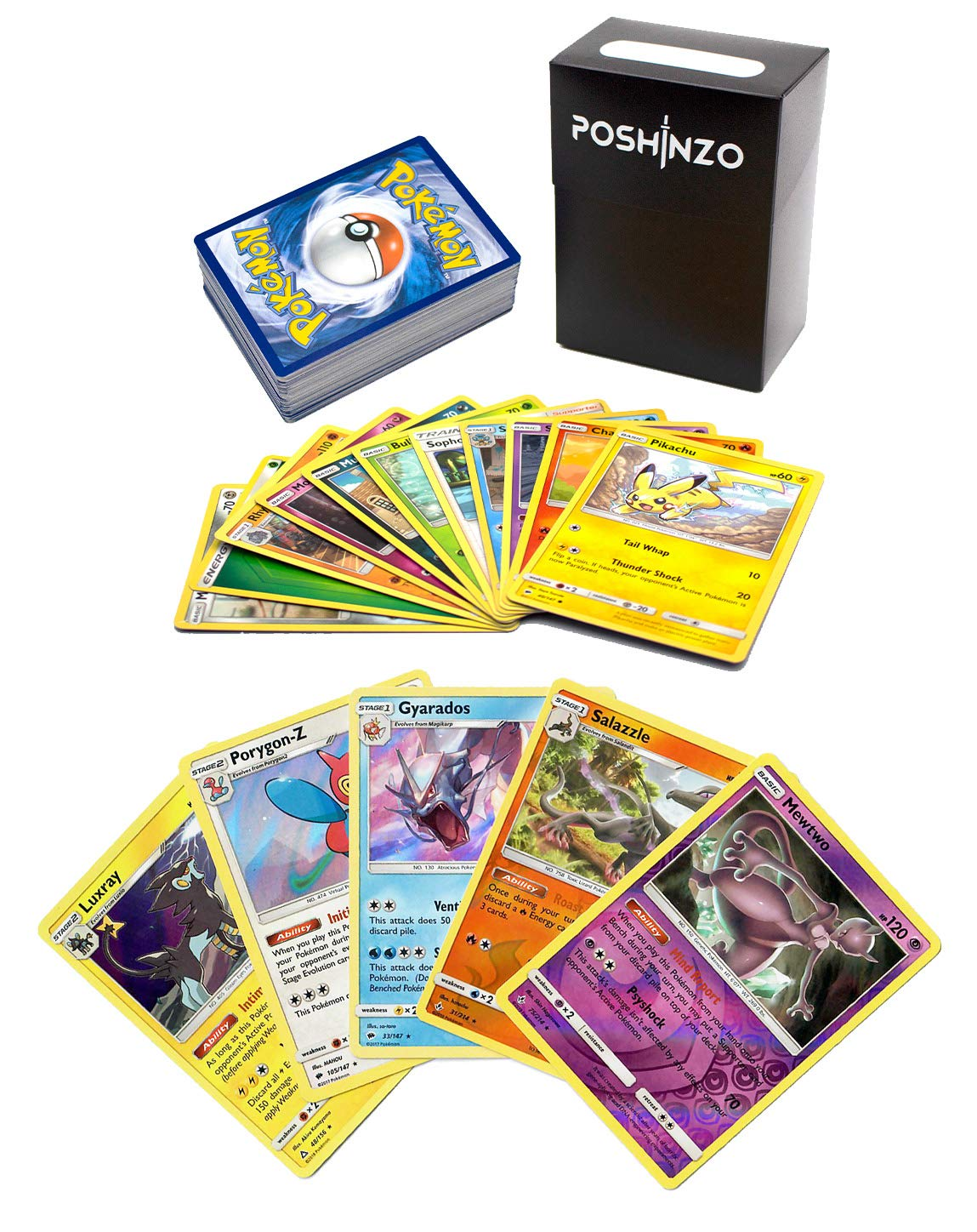 100 Pokemon Cards with 5 Holo Rares Plus Poshinzo Card Box 71LI8tfXzQL