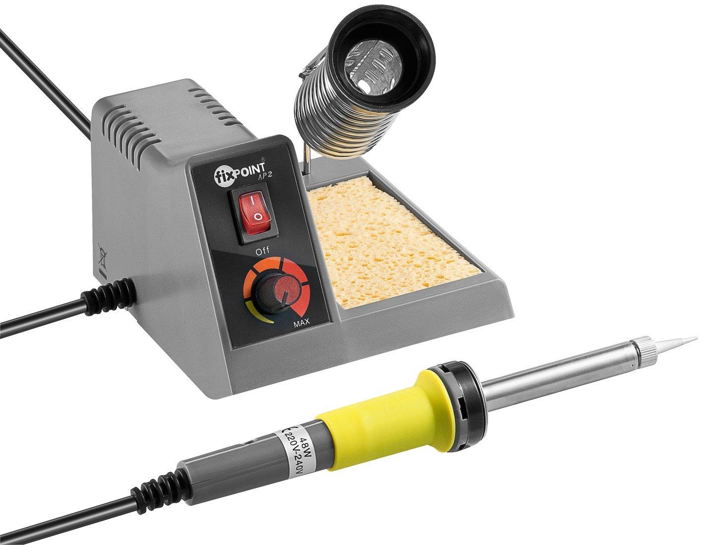Fixpoint 51091, Estació n de soldadura ajustable de 150-450 grados de calentamiento rá pido para soldadura profesional, gris Estación de soldadura ajustable de 150-450 grados de calentamiento rápido para soldadura profesional Wentronic