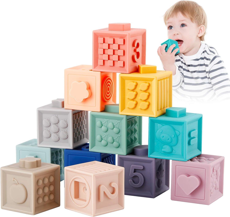 Babyhelen 12PCS Bloques de bebé, Bloques Apilables, Suaves Juguetes de bebé Mordedores Juguete Educativo Jugar con números Animales Formas de Texturas 6 Meses y más