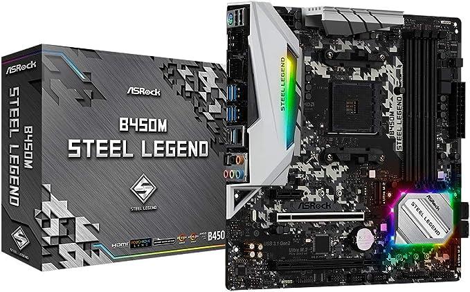 Placa Mãe AM4/USB 3.1/Type-C/Displayport, HDMI, ASRock, B450M Steel Legend  | Amazon.com.br