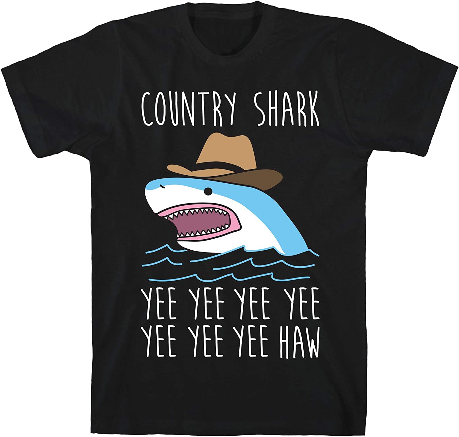 LookHUMAN Country Shark Yee Haw Black Unisex Cotton Tee