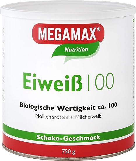 MEGAMAX - Eiweiss - Proteínas de suero de leche y proteínas lácteas - Crecimiento muscular y dieta - Valor biológico aprox. 100 - Chocolate - 750 g: Amazon.es: Deportes y aire libre