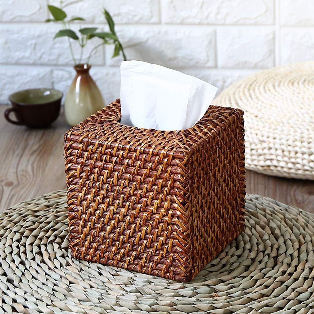 UCYG Creative Handmade Straw Rattan Tissue Box Simple Rustic Style Car Living Room Table Decoration (Color :Brown),151515cm by UCYG