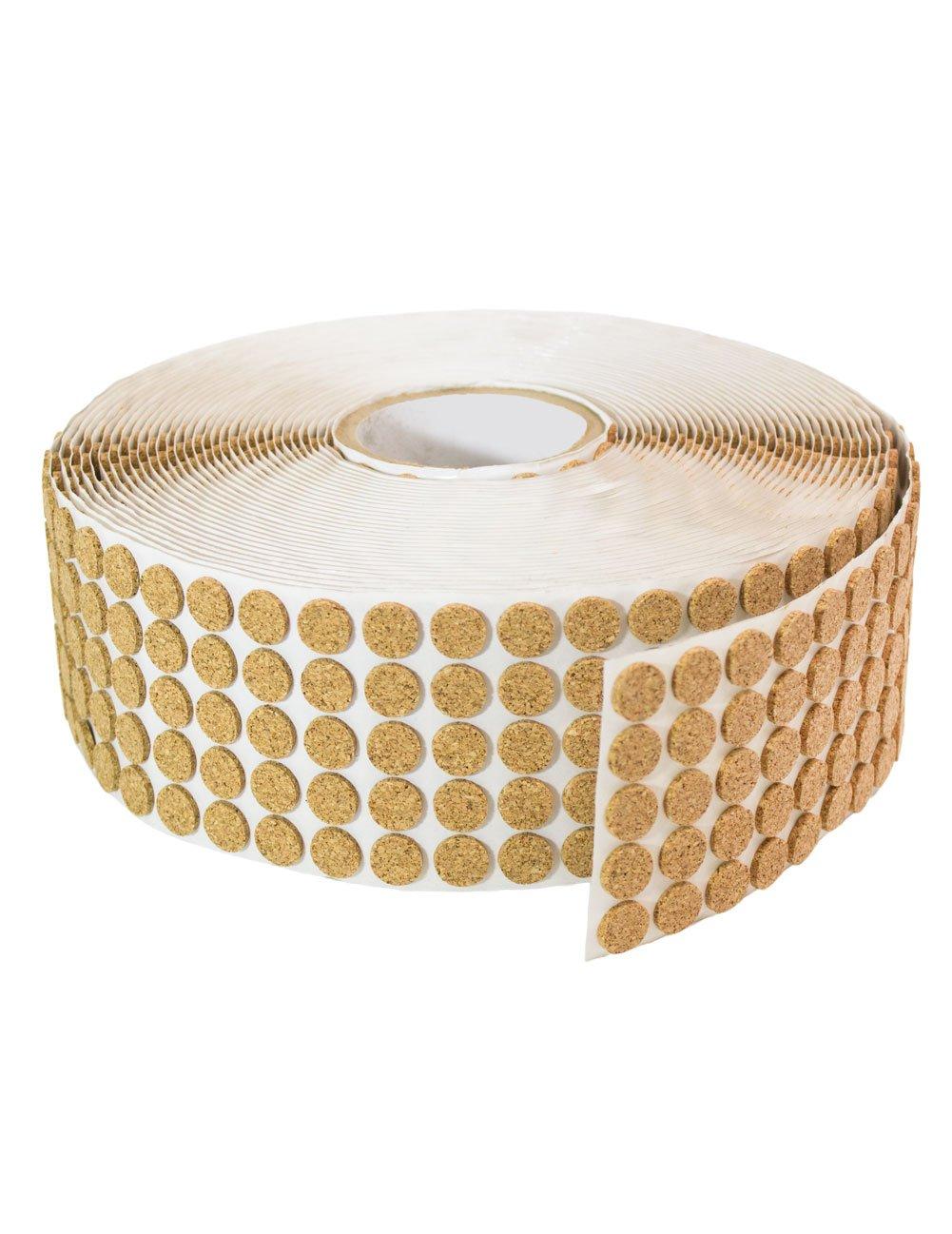 Adhesive Kiss Cut Cork Button Rolls: 3/8'' Dia, 1/8'' Thick (6000 Pcs)