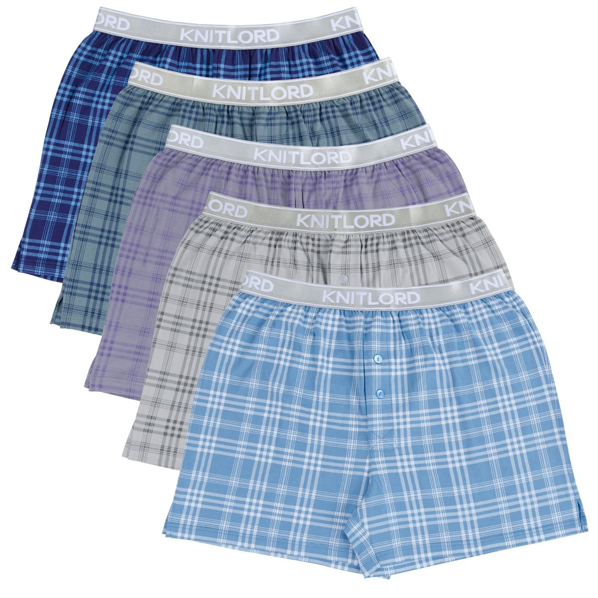 Knitlord UNDERWEAR メンズ B07897F9FT Large|Plaid Printing/ 5 Colors Plaid Printing/ 5 Colors Large