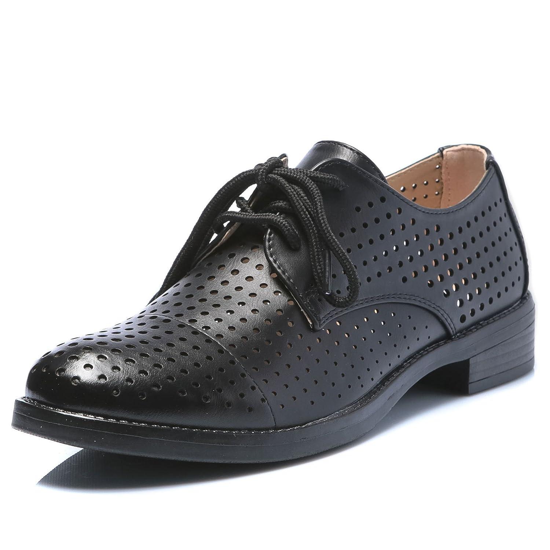 MForshop Scarpe Donna Francesine Mocassino Sneakers Stringate Eco Pelle Traforata b196-11Nero