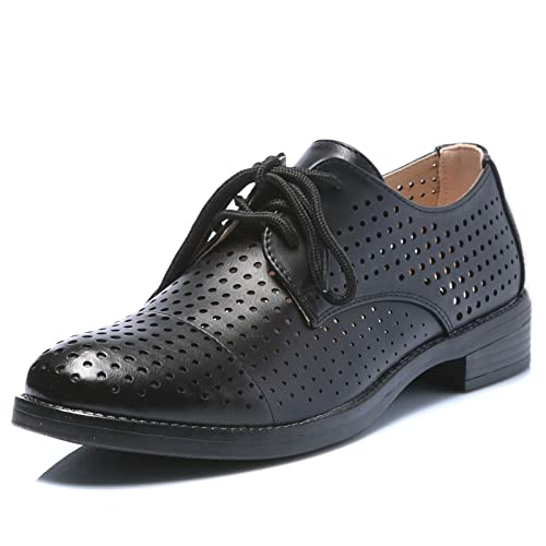 MForshop Scarpe Donna Francesine Mocassino Sneakers Stringate Eco Pelle  Traforata b196-11 - Nero 0667cff4d1a