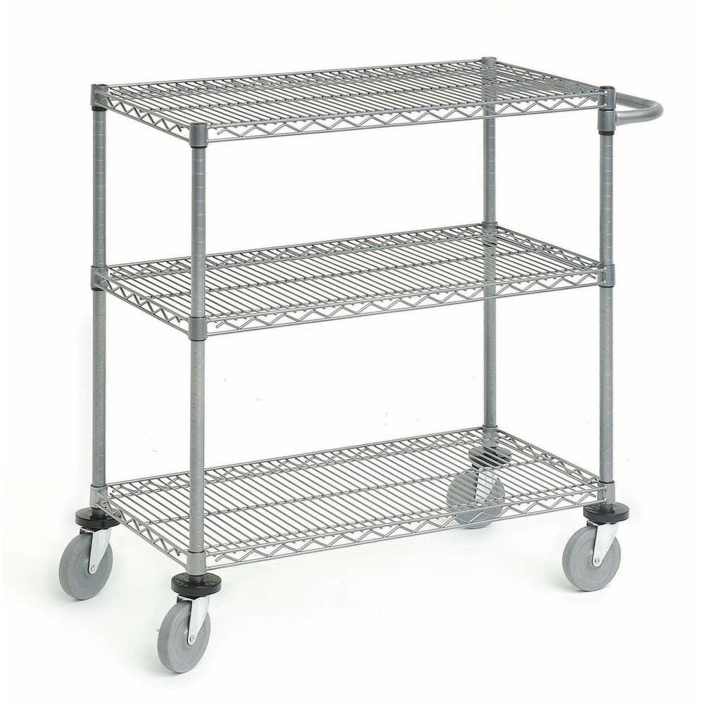 HUBERT 3 Tier Cart Polished Flint 48L x 24W x 34H