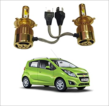 Trigcars Chevrolet Beat Gold Model H4 Car Light 36w 7600lm Double Colour Led Hid Headlights Bulb With Car Bluetooth Amazon In Car Motorbike