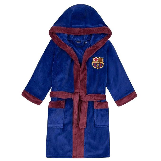 FC Barcelona - Batín oficial con capucha - Para niño - Forro polar: Amazon.es: Ropa y accesorios