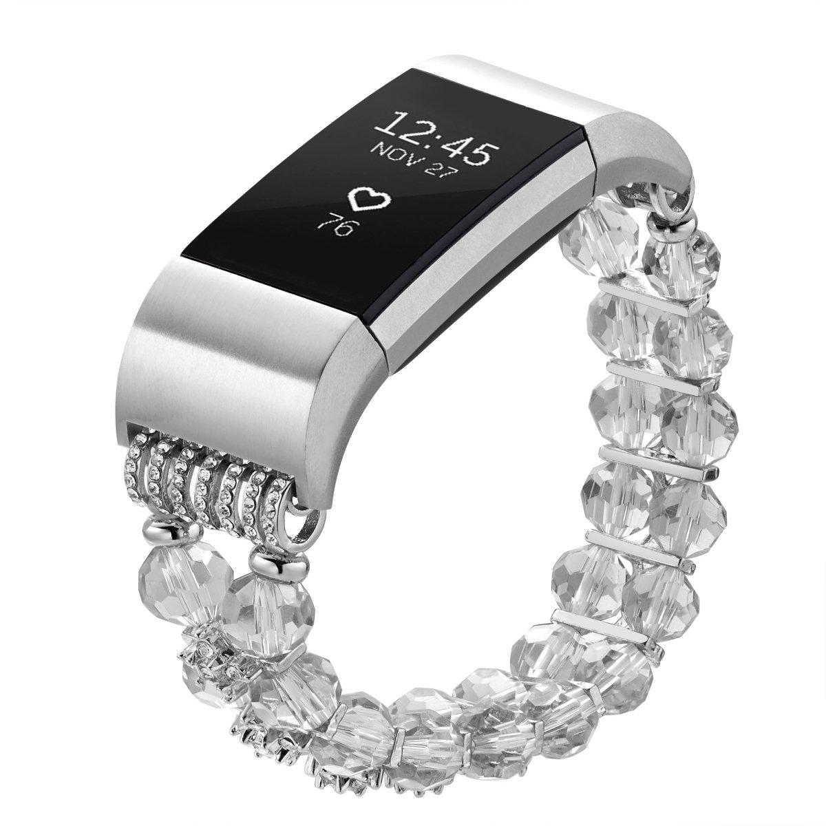 pintaik for Fitbit Charge 2バンドの女性、2018新しいファッションクリスタルパールビーズゴムブレスレットLady Girlジュエリーリストバンド B07BQYSGNR 2018 CrystalWhite 2018 CrystalWhite