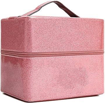 WANGXN Estuche de Maquillaje con Espejo, Espacio Grande, uñas, Caja cosmética, Estuche de tocador,Pink,19.5X16.5X23.5cm: Amazon.es: Deportes y aire libre