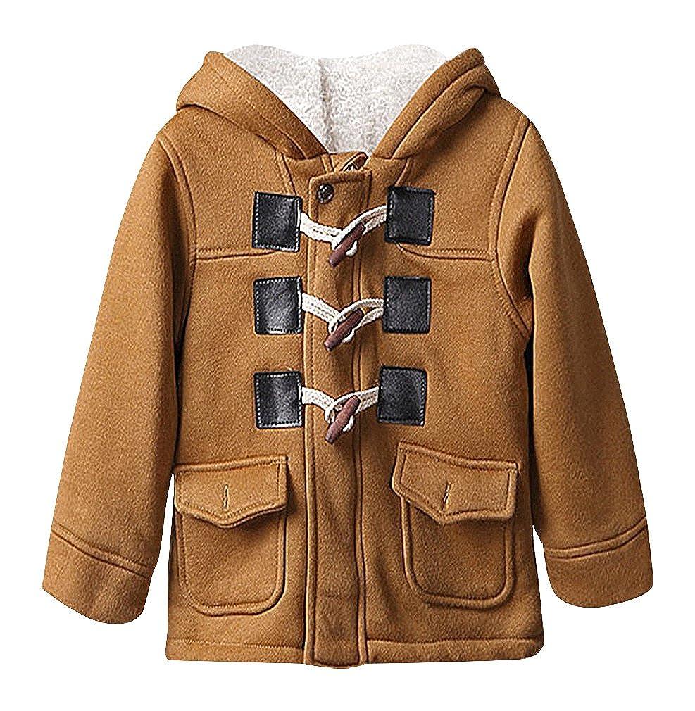 BPrince Boys Khaki Or Gray White Fleece Lining 2 Pocket 3 Button Duffle Coat