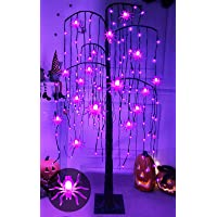 TURNMEON 5 Ft High Halloween Willow Twigs Tree with Timer 24 Spider Lights 108 Purple LED Glitter Artificial Tree Scary…