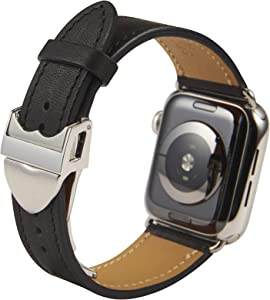 SONAMU New York, French Full Grain Premium Leather Strap Compatible with Apple Watch Band, Automatic Stainless Steel Clasp (Black, 40mm / 38mm)