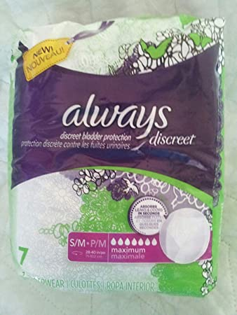 Always Discreet Bladder Protection, Maximum Absorbency, Small, 7 Underwear