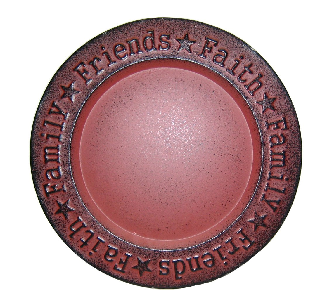 Craft Outlet Faith Family Friend Plate, 12-Inch, Red by Craft Outlet Inc