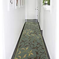 Ottomanson Contemporary Leaves Design Rubber Backing Runner Rug