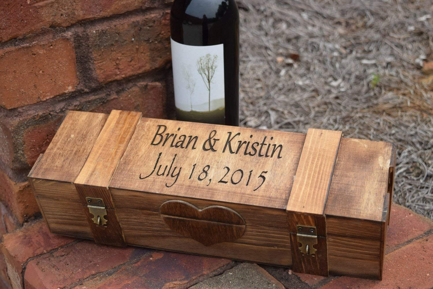 Prosecco 1 Single Bottle Carrier Box for Wine Engravable/® Storage Bottle Gift Presentation Personalised Wine Box Holder Made from Birch Wood with Golden Coloured Clasp /& Hinges Champagne