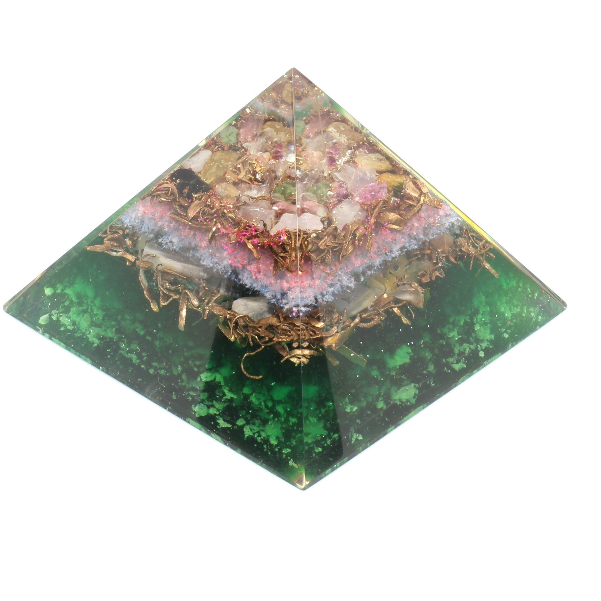 Orgone pyramid with orgone energy- healing crystal based Multi tourmaline Orgonite Pyramid for Positive Energy-EMF Protection by Orgonite Crystal