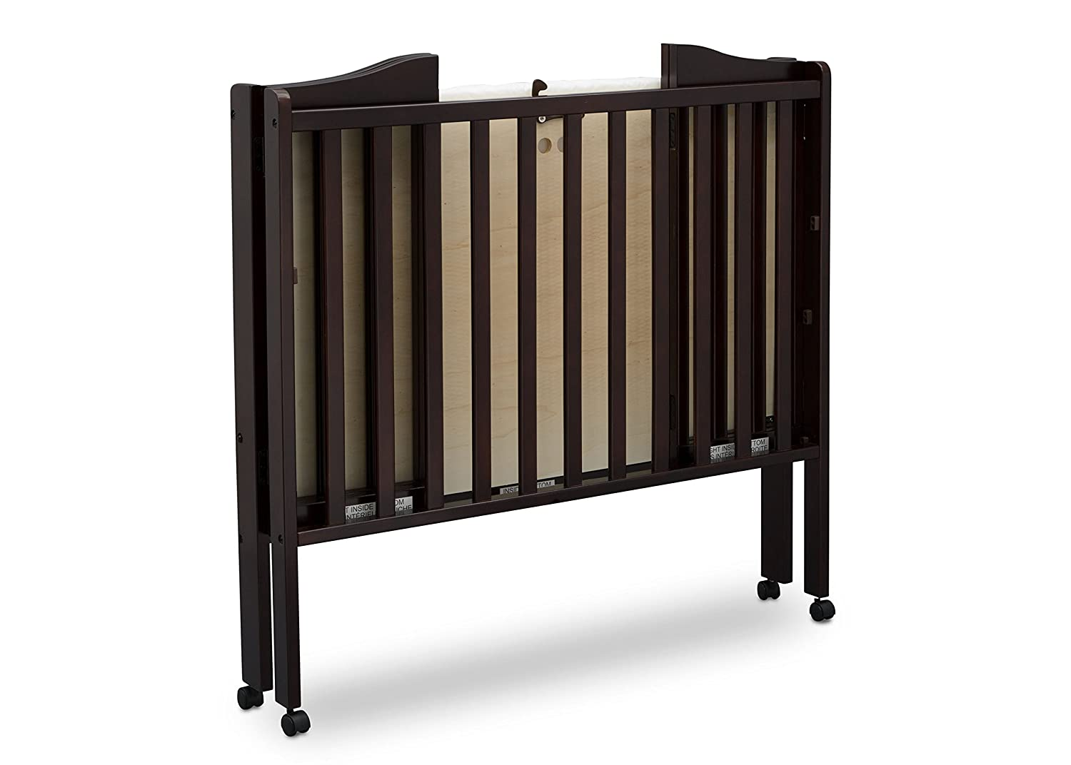 Amazon.com : Delta Children Folding Portable Mini Baby Crib with Mattress, Dark Chocolate : Baby