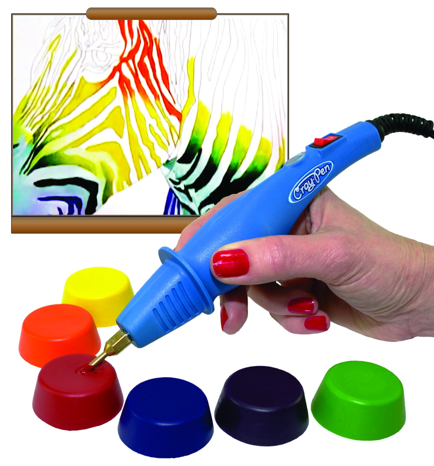 Surebonder CP-1AMKIT Cray-Pen Painting Set with 20 Variety Color Pucks and 2 Clean Out Pucks by Surebonder