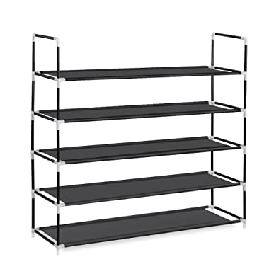 Herron Shoe Rack Durable and Stable Shoe Organizer, 5 Tiers 25 Pairs Space Saving Shoe Tower - Black