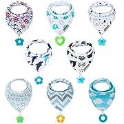 Vuminbox usv-8 Baby Set 3-8Pack Super Teething Absorbent Drool Bandana Bibs 100% Organic Cotton, 9, Multicolor