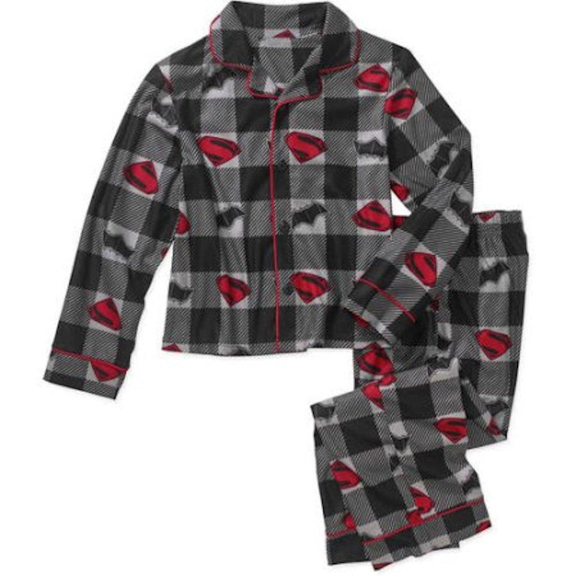DC Comics Batman Vs. Superman 2 Piece Button Down Flannel Pajama Set (Medium 8)