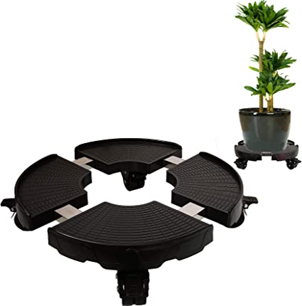 Plant Caddy Heavy Duty Iron Potted Plant Stand With Wheels Round Flower Pot Rack On Rollers Dolly On Wheels Indoor Outdoor Planter Trolley Casters Rolling Coaster Black
