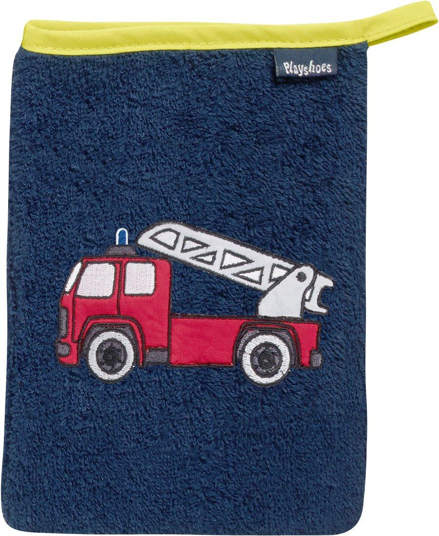 Playshoes 340094 Frottee-Waschhandschuh Feuerwehr, blau