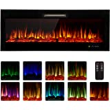 """Homedex 50"""" Recessed Mounted Electric Fireplace Insert with Touch Screen Control Panel, Remote Control, 750/1500W, Log/Crysta"""