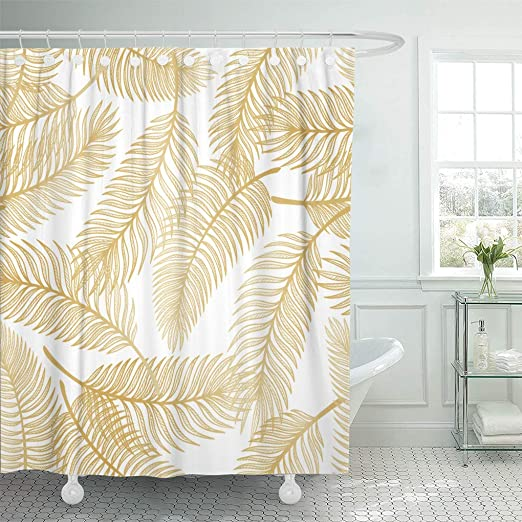 LIVILAN Fabric Shower Curtain Set with 12 Hooks Geometric Patterned Shower Curtain Machine Washable Decorative Bathroom Curtain Gold and White Shower Curtain Bathroom Decor 72 x 72