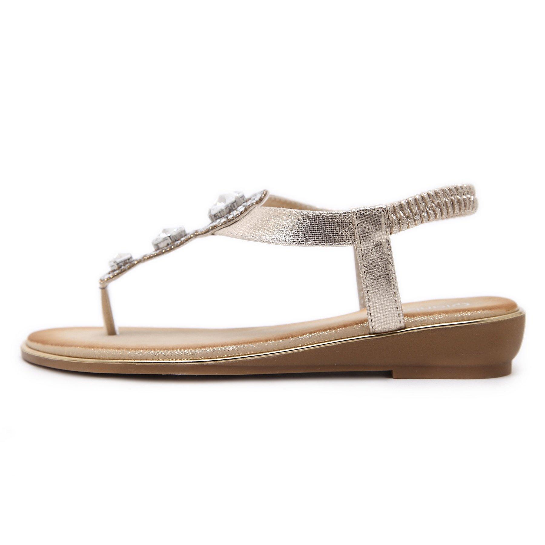 Meeshine Womens Flat Sandals Summer Rhinestone Comfort Bohemian Flip Flop Shoes Gold-02 US 8.5 by Meeshine (Image #2)