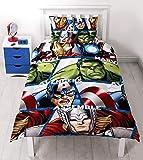 Character World - Set Copripiumino, Letto Singolo 91 cm, Soggetto: Disney Marvel Avengers Shield