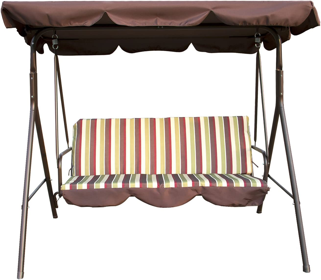 Sliverylake Outdoor Patio Swing Chair 3 Person Porch Cushion with Stand Glider Hammock Bench with Canopy Seating Backyard Furniture Steel Frame