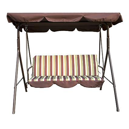 Amazon Com Uhom 3 Person Outdoor Porch Swing Chair 3 Seats Patio
